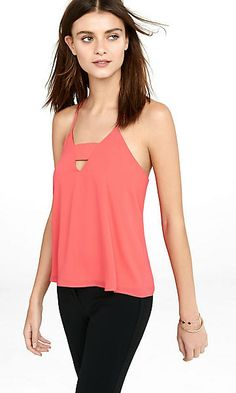 bright red cut-out zip back cami