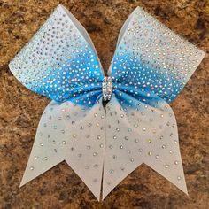 Full glitter, two-tone rhinestone cheer bow by Baddablingbows on Etsy https://www.etsy.com/listing/234981013/full-glitter-two-tone-rhinestone-cheer
