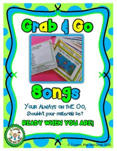 Songs, Fingerplays and Nursery Rhyme cards that are ready when you are.  Colorful cards with picture clues to give young children, English Language Learners and Children with Special Needs the opportunity to choose songs.  Keep them handy for anytime you need a quick song or fingerplay.