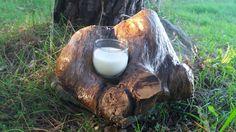 candle natural wood portacandela in legno naturale di lecosevecchie su Etsy