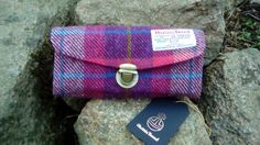 Harris Tweed pink tartan purse wallet, clutch bag, evening bag, day at the races, made in Scotland, birthday gift, mothers day, tartan by Bagsofgrumpiness on Etsy