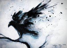 ink painting on canvas roll Abstract raven on a by Crow Art, Raven Art, Bird Art, Mutterschaft Tattoos, Body Art Tattoos, Crow Tattoos, Phoenix Tattoos, Corvo Tattoo, Raven Pictures