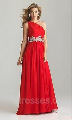 Red One-Shoulder A-Line Long Sleeveless Prom Dress ykdress5131