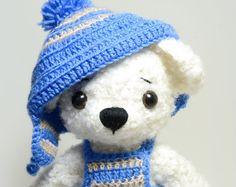 White Teddy Bear, polar bear, artist teddy bear, stuffed teddy bear, toy, gift, teddy bear, soft toy, christmas, winter, crochet teddy bear