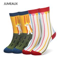 JUMEAUX Women Brand Creative Cartoon Cotton Socks Female Spring Autumn Fashion Novelty Stripes Grid In Tube Socks 2pairs/lot