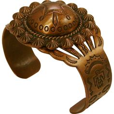Large Copper Traditional Native American Cuff Bracelet