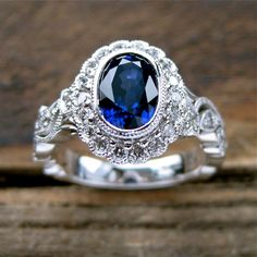 Royal Deep Blue Ceylon Sapphire Engagement Ring door SlowackJewelry