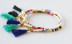Multicolor Beaded Friendship Bracelet Cream Blue by feltlikepaper