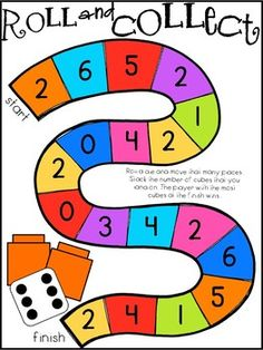 Roll and collect keeps my kids engaged in hands-on learning in one-to-one correspondence, counting and comparing numbers and sets with numbers 1-10. This activity could be used as a whole group activity, small group activity, or at a math center.