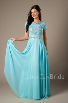 Modest Prom Dress | LatterDayBride & Prom | SLC | Utah | Worldwide Shipping | 2017 Styles | Maude |  This darling modest prom dress features stunning beadwork and a flattering waistline.     Dress available in Aqua.