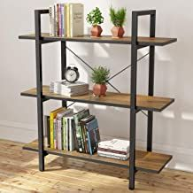 Homemaxs Bookshelf Bookcase, Small Modern Industrial Rustic Wood & Metal Open 3 Tier Book Shelves for Bedroom, Living Room, Study, Office Vintage Bookcase, Metal Bookcase, Small Bookshelf, Industrial Bookshelf, Cube Bookcase, Modern Bookcase, Bookcase Storage, Rustic Industrial, Rustic Wood