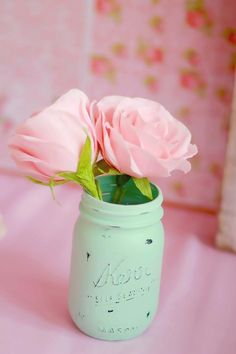LOVE this painted mason jar at a Mother's Soiree via Kara's Party Ideas | Kara'sPartyIdeas.com #masonjar #diy #painted