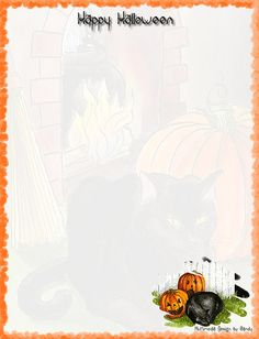 Cat with Pumpkins Stationery
