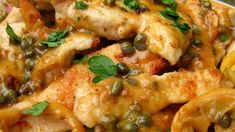Pan-fried chicken breast medallions get a light, fresh lemon-butter sauce with capers and parsley.