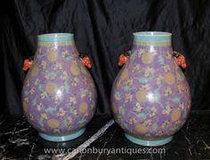 Pair Chinese Porcelain Ming Baluster Urns Vases Under Glaze