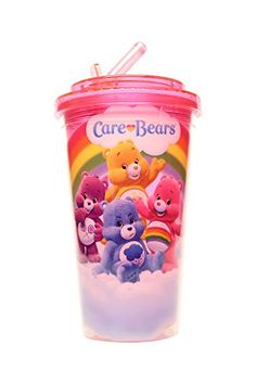 Silver Buffalo CG0184 Care Bears Flip Straw Cup 16 oz Purple @ niftywarehouse.com