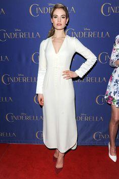 3.11.15  Cinderella premiere, Toronto - Lily James in custom Dior S15 w/ Aquazzura heels