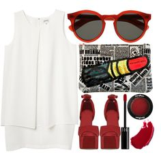 No pen, no ink, no quiet. by kate-margo on Polyvore featuring Monki, Jeffrey Campbell, Illesteva, CO, Sephora Collection, tarte, shift dresses, red sunglasses, glasses and graphic bag