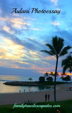 Aulani Resort near sunset on the island of Oahu, Hawaii