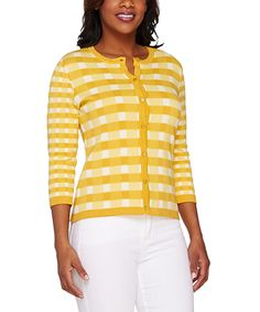 This Yellow & White Gingham Cardigan - Plus Too by Isaac Mizrahi Live! is perfect! #zulilyfinds