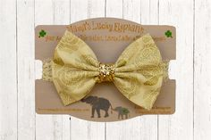Fabric Bow Headband, Fabric Bow Clip-on ||  Ivory Fabric Bow with Gold Metallic Leaf Accents and Ivory Lace Elastic Band or Clip Mounted by mamasluckyelephant on Etsy