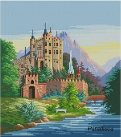 Reconstructed from a 19th century original, and could be done in tent stitch, or cross stitch.  Stitches: 150 х 170 Colors: 55 Size: 27.21 x 30.84