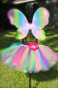 Rainbow Fairy Costume-fairy costume, tutu, rainbow fairy costume, wings, halo, wand, fairy tutu, dress
