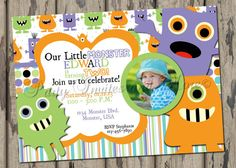 Baby Boy Monster Birthday Invitation by PartyInvitesAndMore, $10.00