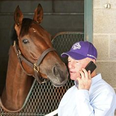 Beholder and trainer Richard Mandella after arriving at Keeneland for the Classic