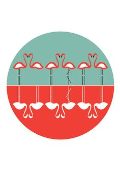 FlAMINGOS dance of LOVE Print