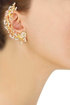 Gold plated crystal branch earcuff with flower stud earring set available only at Pernia's Pop-Up Shop.