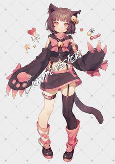 Kawaii Art, Kawaii Anime Girl, Anime Art Girl, Cute Anime Character, Character Concept, Character Art, Anime Lineart, Anime Chibi, Anime Girl Drawings
