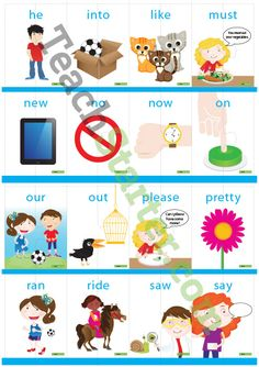 Dolch Sight Word Flashcards with Pictures – Primer (2 puzzle pieces) Teaching Resource