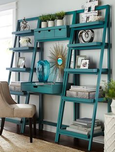 Our ladder-style bookcase gives you lots of display and storage space in a clean, contemporary silhouette. Built of pine and engineered wood for durability and strength, it's finished with hand-applied color for a lightly distressed effect. Home Office Furniture, Living Room Furniture, Diy Furniture, Business Furniture, Living Rooms, Furniture Market, Furniture Assembly, Outdoor Furniture, Tall Shelves