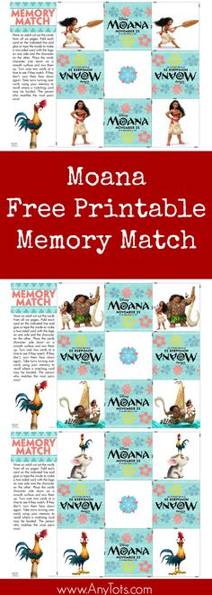 Free Printable Moana Memory Game. Print this and more Moana Free Printable Activity Sheets on the blog, www.anytots.com