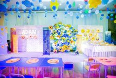 Adam's Emoji-fied Themed Party – Birthday Emoji Theme Party, Party Themes, Party Ideas, Emoji Faces, Different Games, Kid Table, Heart For Kids, 1st Birthdays, Balloon Decorations