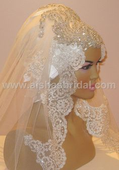 Ready To Wear Bridal Hijab  Code HGT353 by aishasbridal on Etsy, $167.46