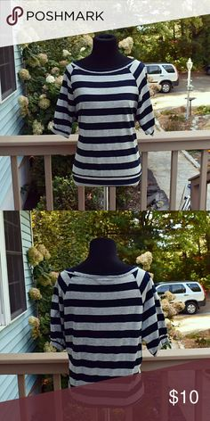 Grey and Black Striped Half Sleeve Top Super cute. Size small. Excellent condition. Tops Tees - Short Sleeve