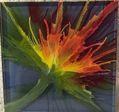 Ink on glass 4x4 tinted tile. Deb Boudreau. SLEEPLESS NIGHTS ART 2016