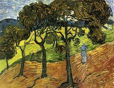 Landscape with Trees and Figures,- Vincent Van Gogh - Novembre 1889 Huile sur toile 66 x 50.6 cm de ht