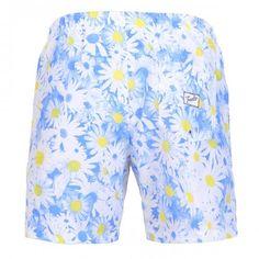 MID-LENGHT SWIM SHORTS WITH DAISY PRINT - Polyester mid-lenght Boardshorts with all-over daisy print. Elastic waistband with adjustable drawstring. Back pocket with Frank's label detailing. Internal net.  #mrbeachwear #uomo #men #onlineshop #franks #boardshort #summer #fashion #swimwear  #style #springsummer2014 #summer2014 #daisy