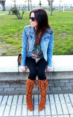 Minnetonka Front Lace Knee Hi Boots at Shoedipity.comM