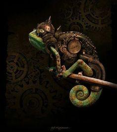 Steampunk Chameleon by Kajenna Chat Steampunk, Design Steampunk, Steampunk Kunst, Steampunk Artwork, Style Steampunk, Steampunk Fashion, Steampunk Drawing, Steampunk City, Steampunk Images