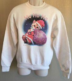Christmas Sweatshirt Christmas Kitten Santa Adult Medium Natural Color by AlwaysInStitchesCo on Etsy