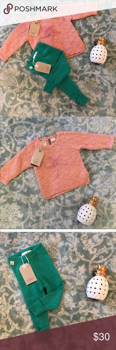 NWT Zara baby girl outfit 6/9 months Zara baby girl collection  Pink ruffled heart sweater  Ribbed leggings / tights / thermos Size 6/9 months  NWT Zara Matching Sets