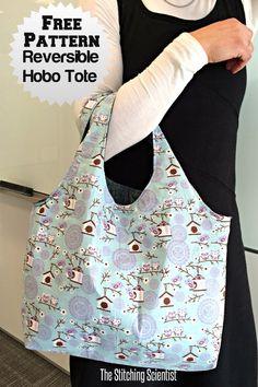 Free pattern: Reversible hobo tote