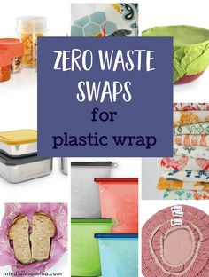 Stop using wasteful plastic wrap and use these zero waste swaps instead. You'll find reusable bowl covers, beeswax wraps, silicone bags and lids, reusable bags, stainless steel and glass food storage containers and more. Click through to read the post! Glass Food Storage, Food Storage Containers, Plastic Containers For Food, How To Store Tomatoes, Food Spoilage, Furoshiki, Alternative To Plastic Bags, Plastic Wrap, Plastic Waste