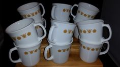 Set of 12 Vintage Corning Ware Butterfly Gold Coffee Mugs