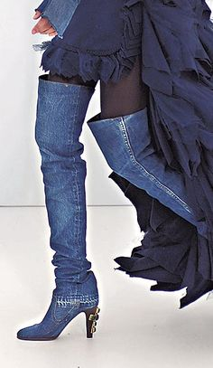 Chanel Denim Thigh-High Boots