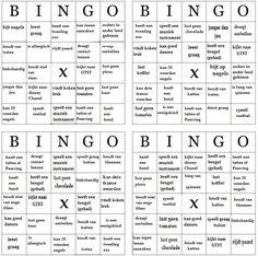 Elke leerling krijgt een van de 4 Bingo kaarten. de leerlingen mogen nu rouleren…